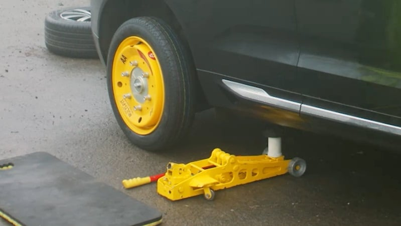 AA Multi Fit Wheel Attached to Car